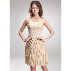 Sheath/Column Knee-Length Chiffon Cocktail Dress With Ruffle Beading Sequins