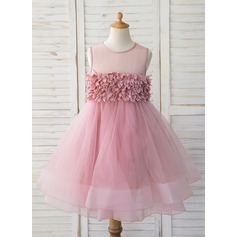 De Baile/Princesa Coquetel Vestidos de Menina das Flores - Tule Sem magas Decote redondo