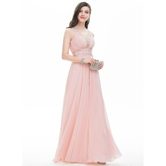 A-Line/Princess V-neck Floor-Length Chiffon Evening Dress With Ruffle Beading Sequins (017107807)