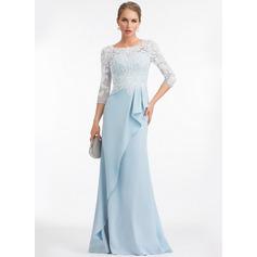 Sheath/Column Scoop Neck Floor-Length Stretch Crepe Evening Dress With Ruffle