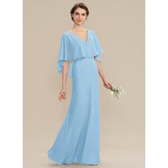 Трапеция V-образный Длина до пола шифон Платье Подружки Невесты