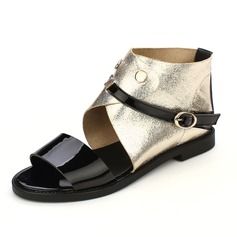 Leatherette Flat Heel Sandals Flats With Buckle shoes (087047507)