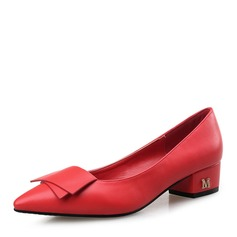 Women's Leatherette Pumps Closed Toe With Bowknot shoes