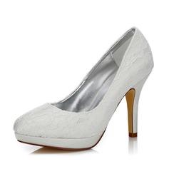 Mulheres Renda Cetim Salto agulha Fechados Bombas Sapatos Tingíveis