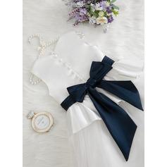 Duchesse-Linie/Princess Bodenlang Blumenmädchenkleid - Satin/Tüll Ärmellos U-Ausschnitt mit Rüschen/Gefaltet (Onuitneembare sjerp) (010207208)