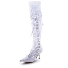 Kvinnor Satin Stilettklack Stövlar Stängt Toe med Ribbon Tie Stitching Lace