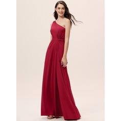 Corte A Um ombro Longos Jersey Vestido de madrinha com Pregueado Frente aberta