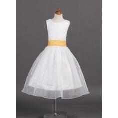 Forme Princesse Longueur mollet Robes à Fleurs pour Filles - Organza/Satiné Sans manches Col rond avec Ceintures