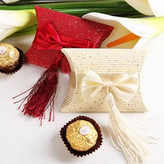 Elegant Pillow Favor Boxes With Tassels (Set of 12)