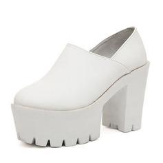 Frauen Kunstleder Stämmiger Absatz Absatzschuhe Plateauschuh mit Zweiteiliger Stoff Schuhe
