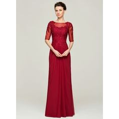 A-Line/Princess Scoop Neck Floor-Length Chiffon Lace Mother of the Bride Dress With Ruffle Beading