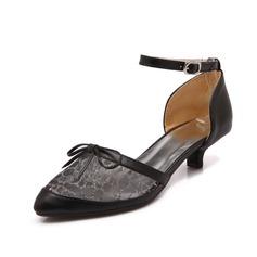 Kunstleder Kätzchen Absatz Absatzschuhe Geschlossene Zehe mit Schnalle Schuhe