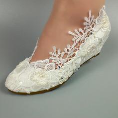Naisten Keinonahasta Wedge heel Suljettu toe Kiilat jossa Stitching Lace (047153539)