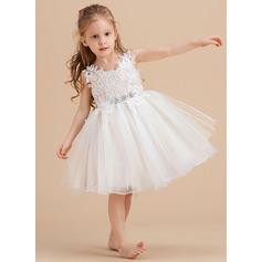 A-Line Knee-length Flower Girl Dress - Tulle/Lace Sleeveless V-neck With Rhinestone