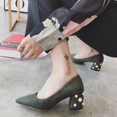 Femmes Suède Talon bottier Escarpins Bout fermé avec Pearl chaussures