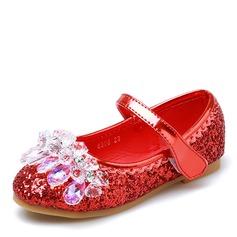 Fille de bout rond Bout fermé Glitter mousseux talon plat Chaussures plates Chaussures de fille de fleur avec Velcro Cristal
