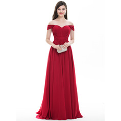 A-Line/Princess Off-the-Shoulder Sweep Train Chiffon Prom Dresses With Ruffle (018105700)