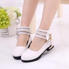 Girl's Leatherette Flat Heel Closed Toe Flats With Bowknot Imitation Pearl Tassel (207128267)