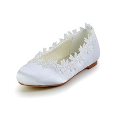 Girl's Closed Toe Satin Flat Heel Flats Flower Girl Shoes With Applique (207095470)