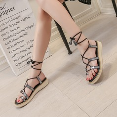 Women's Leatherette Flat Heel Sandals Flats Slingbacks With Lace-up shoes