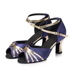 Femmes Tissu Pailletes scintillantes Talons Sandales Latin avec Lanière de cheville Chaussures de danse