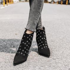 Frauen Veloursleder Stöckel Absatz Absatzschuhe Stiefelette mit Reißverschluss Hohl-out Schuhe