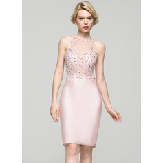 Sheath/Column Scoop Neck Knee-Length Jersey Homecoming Dress With Beading Sequins