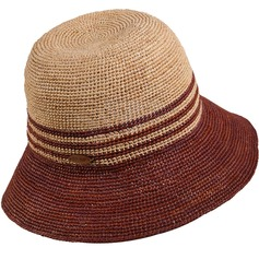 Ladies' Classic Raffia Straw Bowler/Cloche Hat