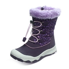 Unisexe bout rond Bout fermé Bottes neige en tissu Cuir en microfibre talon plat Bottes avec Dentelle Zip