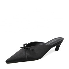 Women's Satin Low Heel Slippers With Bowknot shoes (087132556)