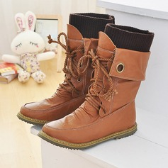 Women's Leatherette Flat Heel Flats Closed Toe Boots Knee High Boots Mid-Calf Boots Snow Boots Martin Boots Riding Boots With Lace-up shoes