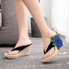 Kids' Microfiber Leather Wedge Heel Flip-Flops Peep Toe Platform Sandals Slingbacks Wedges Beach Wedding Shoes With Flower Applique