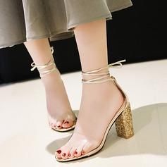 Kvinnor PU Tjockt Häl Sandaler Pumps Peep Toe med Paljetter Bandage skor