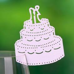 Pastel de bodas Papel perlado Tarjetas del lugar (juego de 12)