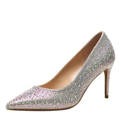 Vrouwen PU Stiletto Heel Pumps Closed Toe met Strass Juwelen Hak schoenen