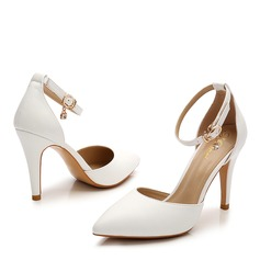 Женщины Лакированная кожа Высокий тонкий каблук Сандалии Закрытый мыс с горный хрусталь пряжка обувь