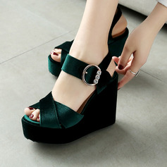 Women's Suede Wedge Heel Sandals With Buckle shoes (116150522)