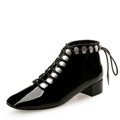Frauen Lackleder Stämmiger Absatz Geschlossene Zehe Stiefelette mit Zuschnüren Schuhe