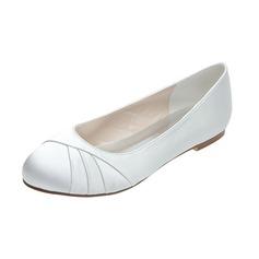Women's Satin Flat Heel Closed Toe Flats