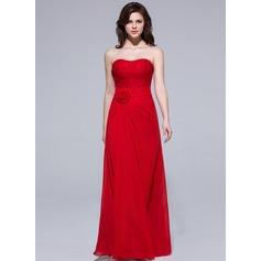 Платье-чехол В виде сердца Длина до пола шифон Платье Подружки Невесты с Рябь Цветы