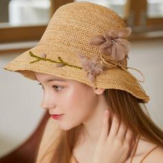 Dames Prachtige/Heetste Raffia Stro met Zijde Bloemen Strand / Zon Hoeden/Theepartij hoeden