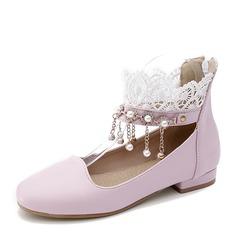 De mujer PU Tacón plano Planos Cerrados con Perlas de imitación Borla zapatos