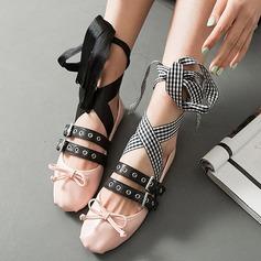 Naisten Aitoa nahkaa Matalakorkoiset Heel Avokkaat Suljettu toe jossa Niitti Punottu hihna kengät