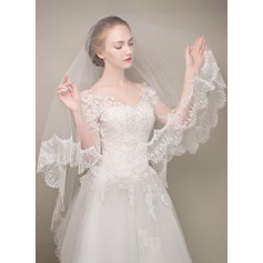 One-tier Lace Applique Edge Fingertip Bridal Veils With Applique/Lace (006125118)