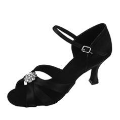 Mulheres Cetim Saltos Sandálias Latino com Strass Sapatos de dança