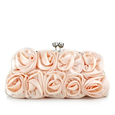 Elegant Satin With Flower Clutches
