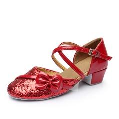 Kvinnor Konstläder Glittrande Glitter Sandaler Bal med Bowknot Spänne Ihåliga ut Dansskor