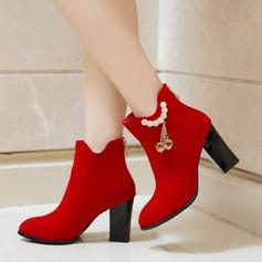 Femmes Suède Talon bottier Escarpins Bottines avec Strass Zip chaussures
