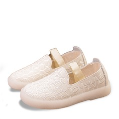 Jentas Lukket Tå Leather flat Heel Flate sko Flower Girl Shoes med Velcro Blomst