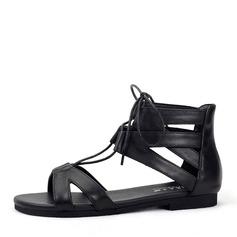 Femmes Vrai cuir Talon plat Sandales Chaussures plates À bout ouvert avec Dentelle chaussures
